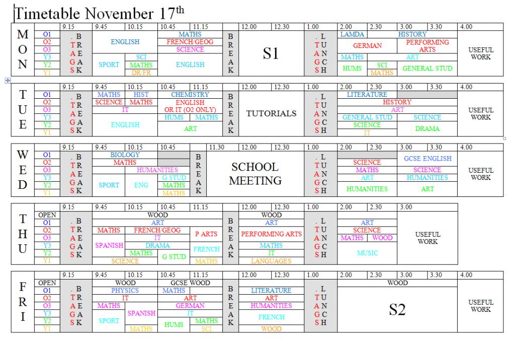 Timetable 17Nov2014
